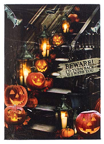 (Oak Street Halloween Pumpkins Decorated Staircase LED Art 8