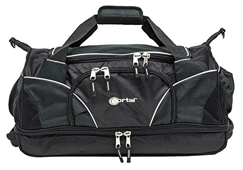 Portal Sport Gym Bag Organized Duffle with Split-Level Design – Black For Sale