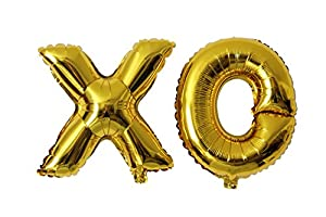 Amazoncom gold letter mylar balloons xo kitchen dining for Foil letter balloons amazon