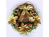 Gelaiken World Christmas Flower Christmas Garland Door Hanging Ornaments Room Christmas Tree Pendants for Decoration(Golden)