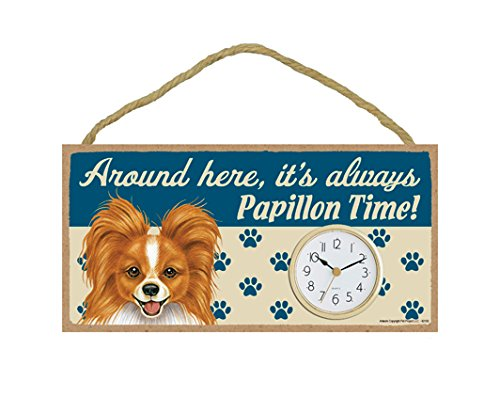 SJT ENTERPRISES, INC. Around here, It's Always Papillon (Red & White) time! 5' x 10' Wood Dog Clock Sign for Wall or Desk (SJT62150)