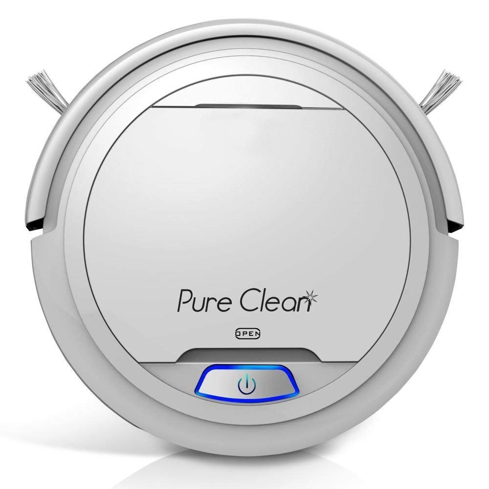 Pure Clean Automatic Robot Vacuum - Robotic Auto Home Cleaning for Clean Carpet Hardwood Floor - Cleaner Bot Self Detects Stairs - HEPA Filter - PUCRC25 (White) (Renewed)