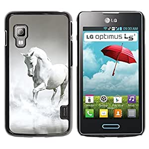 Paccase / SLIM PC / Aliminium Casa Carcasa Funda Case Cover para - Horse White Grey Clouds Galloping Stallion - LG Optimus L5 II Dual E455 E460