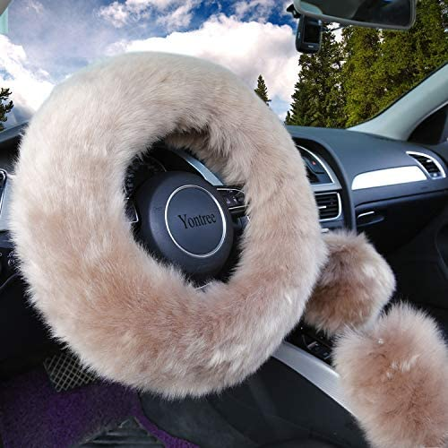 Pink Silence Shopping Autumn Winter Warm Faux Wool Car Steering Wheel Cover Handbrake Cover And Gear Shift Cover 3Pcs//Set