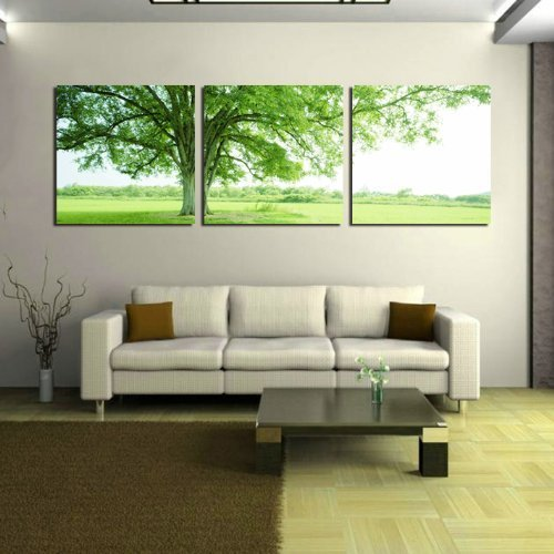 Oil Painting Modern Art Large Canvas Wall Art 3 Piece Canvas Art Unstretch and No Frame with Surrounded by green trees, the recent best-selling products