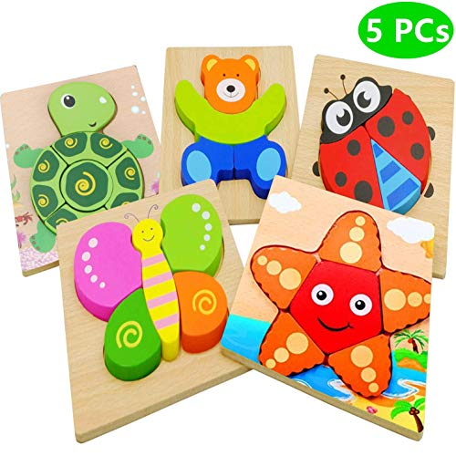 Dinana Wooden Animal Jigsaw Puzzles for Toddlers 1 2 3 Years Old, Educational Toys Gift with 5 Pcs Chunky Bright Vibrant Color Shapes Lovely Animal, Free Drawstring Bag for Easy Storage ()