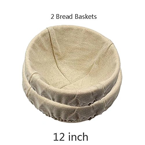 2 pack of 12 Inch Round Brotform Banneton Proofing Baskets Bread Bowl for Baking Dough with Rising Pattern (Bonus Linen Cover) by BabyFoxy (Image #1)