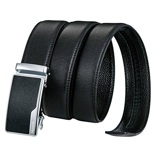 Open Metal Studded Leather Belt (Mamck Men's Belt Ratchet Slide Holeless Automatic Buckle Leather Belt (Black))