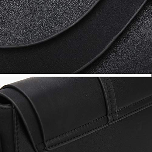 Shoulder Bag For Women Solid Color Stitching Female Crossbody Bag simple circular ladies bag Women Handbag (Black)