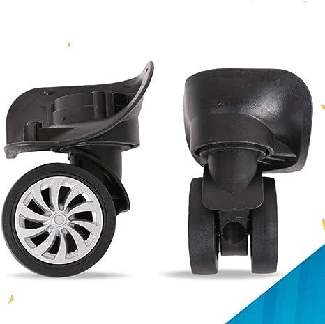 BQLZR 9.1cmx10.7x4.9cm Plastica nera fai da te Ruota girevole sinistra e destra con ruote di ricambio Confezione da 2