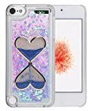 ipod 5 case light blue - iPod Touch 5 6 Case, QKKE [Lightweight] [Shock Proof] 3D Glitter Bling Hearts Flowing Liquid Heart Clear Bling Love Heart Hard Case for Touch 5 and Touch 6 (Hourglass/Blue)