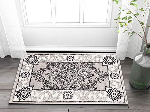 Well Woven Chateau Medallion Grey French Aubusson Modern 2 x 3 (20