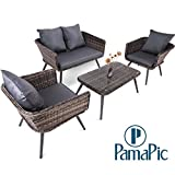 4 PCS Rattan Patio Furniture Set, PamaPic Indoor-Outdoor Wicker Sectional Seat Cushioned Loveseat Sofa. Decoration for Garden Lawn, Backyard, Pool. (Grey)