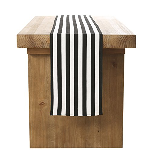 Ling 39 s moment durable black and white striped table runner for 12 ft table runner