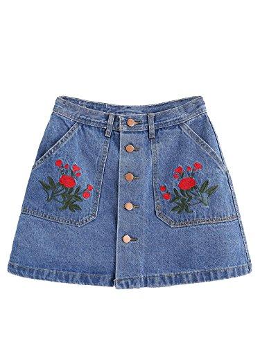 MakeMeChic Women's Button Front Pocket A-Line Denim Short Skirt ##Blue (Cute Denim Skirt)