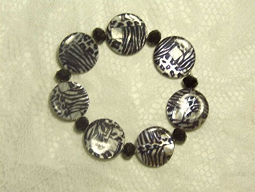 "Cynthia Lynn ""WILD THING"" Black & White Zebra Animal Print Shell Bead Stretch Bracelet"
