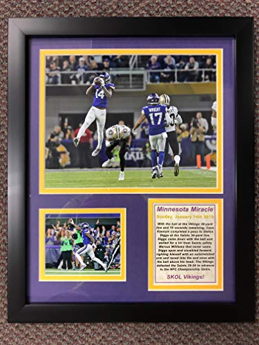 """Minnesota Vikings - Minnesota Miracle - NFC Divisional Win - Framed 12""""x15"""" Double Matted Photos - Legends Never Die, Inc."""