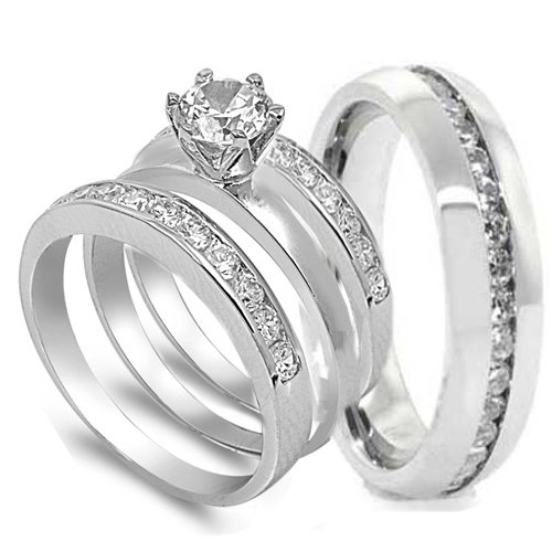 Amazon.com  4 pcs His and Hers STAINLESS STEEL wedding engagement ring set  (Size Men s 10 Women s 5)  Jewelry 21819cfa5c
