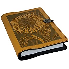 Genuine Leather Refillable Journal Cover with a Hardbound Blank Insert, 6x9 Inches, Sunflower, Marigold with a Pewter Button, Made in The USA by Oberon Design 9 Indulge your muse with an elegant leather journal from Oberon Design. Hand crafted in the US from domestically raised leather, this journal is as beautiful as the words and images you fill it with.