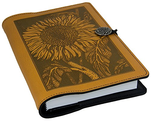 Genuine Leather Refillable Journal Cover with a Hardbound Blank Insert, 6x9 Inches, Sunflower, Marigold with a Pewter Button, Made in The USA by Oberon Design