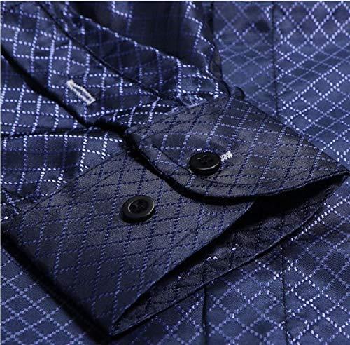au La Fit Vestito Sottile Tasto Uomini Lungo Il Sodossny Camicia Casuale Del Giù manicotto Blu Camicia ggwcU4qrO