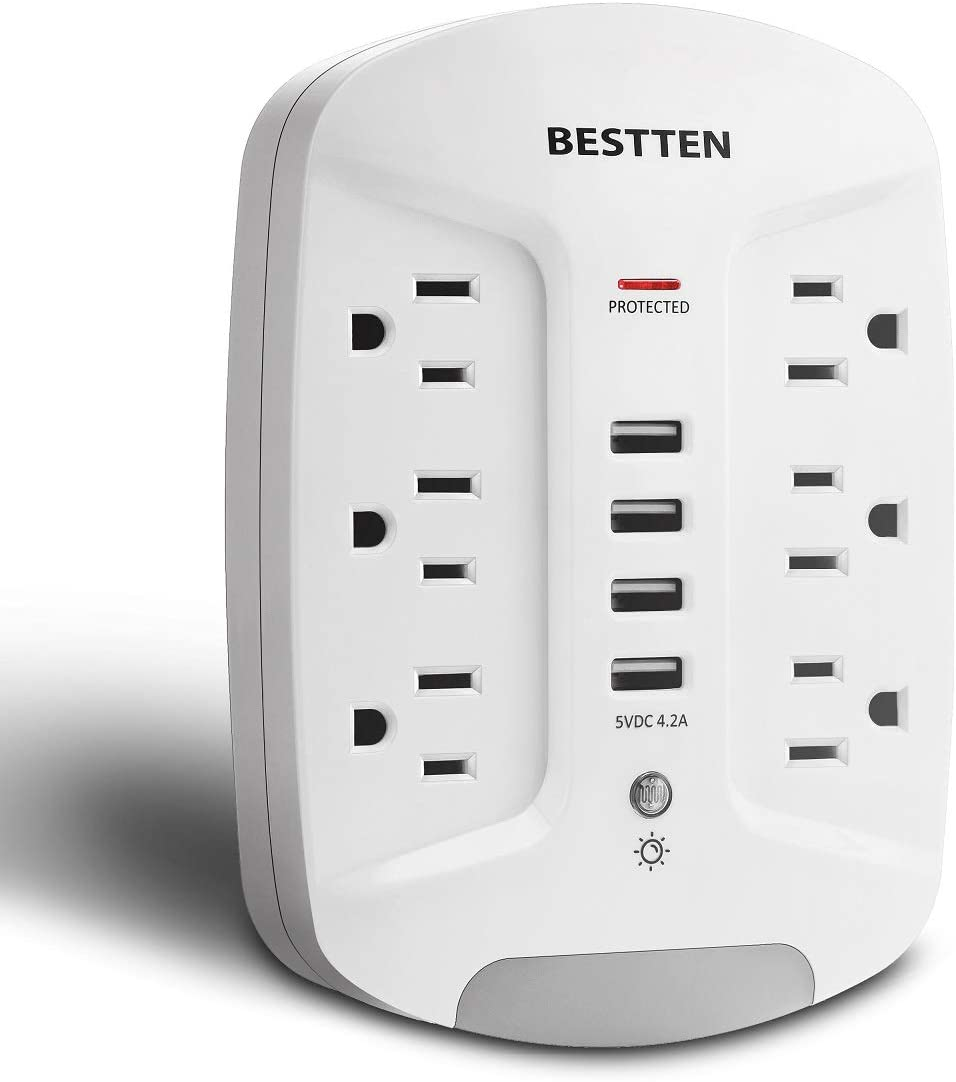 BESTTEN Wall Outlet USB Charger with LED Night Light and Surge Protector (1080 Joules), 4 USB Ports (5V/4.2A), 6 AC Outlets (15A/125V/1875W), Photocell Night Light, ETL Listed, White
