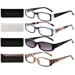 LianSan Ladies Designer Readers Spring Hinge Womens Magnifying Eyeglasses with Sun Reading Glasses Lightweight Rectangular 4 Pack 3200, 1.00 Magnification