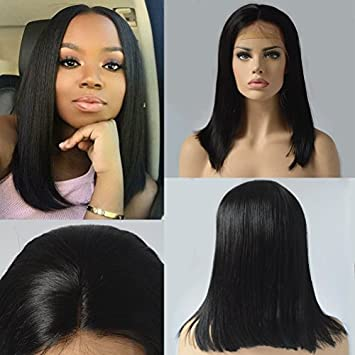 Amazon.com   Lace Front Wigs Bob Straight Glueless Brazilian Human Hair  Full Lace Wigs For Black Women Middle Part 150% Density   Beauty c8328b80b9