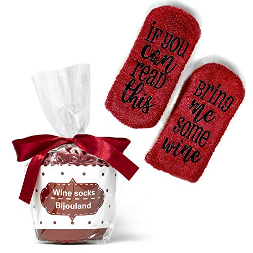 BijouLand - If You Can Read This Bring Me Some Wine, Fuzzy Socks Unisex, Funny Cute Saying Socks Wedding Bridal Shower Gift Idea (Merlot)