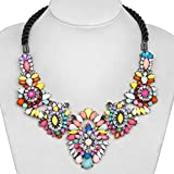 Fashion Flower Statement Necklace Rhinestone Muticolor Rope Chunky Bubble Bib Women Jewelry