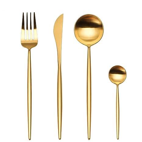 LEKOCH Cubiertos de acero inoxidable de 18/10, 4 piezas, que incluyen tenedores, cubiertos de cuchillos, cucharas para 1 (oro)