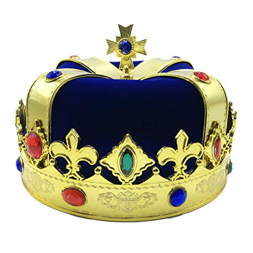 Toyvian King Princess Crown Hat Party Accessory for Kids Adults Children Cosplay Costume Party (Blue)