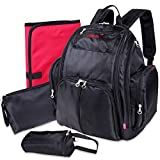 Yodo Upgraded Baby Diaper Backpack Bag for Mom Dad - Plus Extra-Large Baby Changing Pad, Small Pouch and Feeding Bottle Holder - 14 Pockets - Soft Twill Fabric, Black