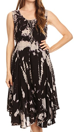 (Sakkas 17322 - Mathilde Marble Tie-dye Sleeveless Tank Dress Tiered and Corset - Black -)