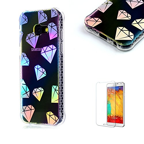 For Samsung Galaxy A5 (2017 Model) Case [with Free Screen Protector].Funyye Luxurious Ultra Thin Soft Silicone TPU With Electroplating Plated Frame Crystal Protective Soft Back Case for Samsung Galaxy A5 (2017 Model)-Diamond