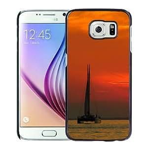 Fashion Custom Designed Cover Case For Samsung Galaxy S6 Phone Case With Catamaran Sunset Ocean_Black Phone Case