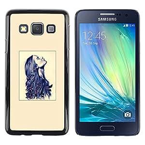 LECELL--Funda protectora / Cubierta / Piel For Samsung Galaxy A3 SM-A300 -- Blue Ink Hair Beige Deep Woman --