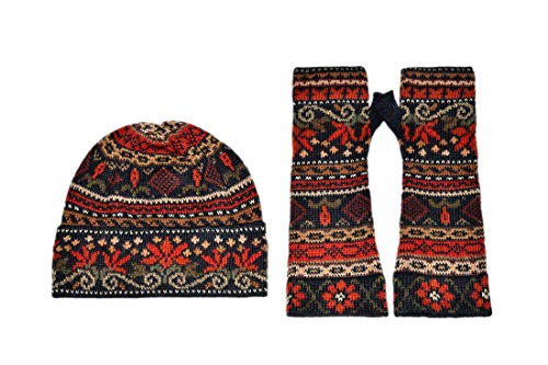 Invisible World Women's Alpaca Wool Glove and Hat Sets Fingerlesss Winter Julia M Set