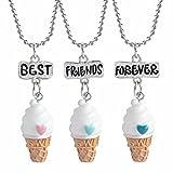 vanilla ice cream necklace - Best Friends Forever Necklace 3 Pack, Friendship Ice Cream Cones