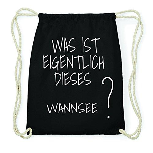 JOllify WANNSEE Hipster Turnbeutel Tasche Rucksack aus Baumwolle - Farbe: schwarz Design: Was ist eigentlich