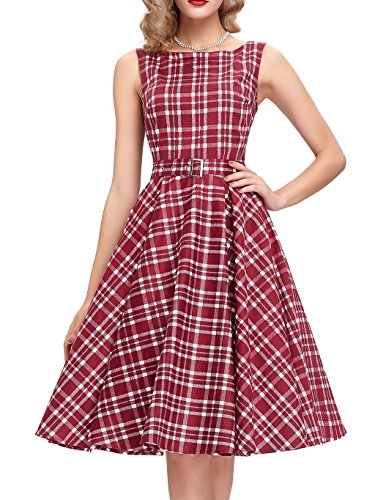 Dress 1960 (1960s Dark Red Plaid Garden Party Vintage Swing Dress Size S BP02-15)