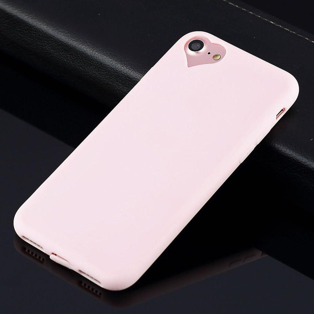 """Apple iPhone 8 Case, iPhone 7 Case Cute Love Heart Hole Rubber Gel TPU Slim Soft Phone Case Cover for iPhone 8 iPhone 7 (Light Pink, for iPhone 8 7 4.7"""")"""