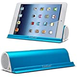 Lugulake Aluminum Portable Bluetooth 4.0 Speaker with Stand Dock, HIFI, 2x 3Watts, Enhanced Bass, 10 Hours Playtime - Blue