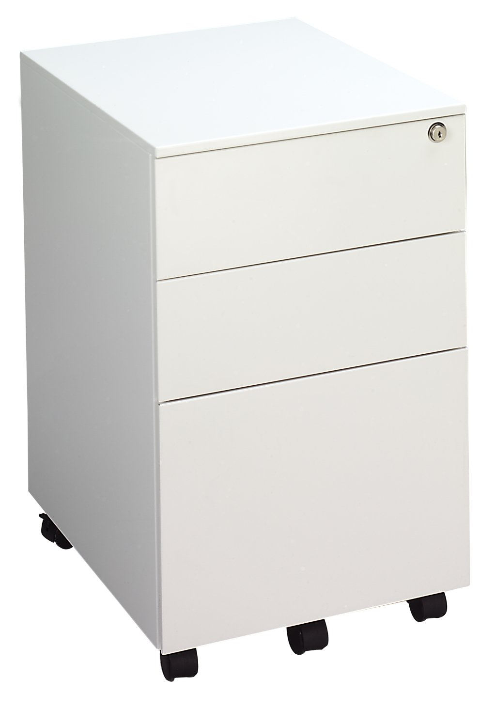 Office Hippo 3 Drawer Under Desk Mobile Filing Pedestal - Steel, White TC Group TKUSMP3WH