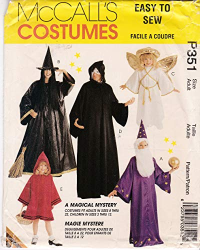 McCall's Sewing Pattern 351 Adult Costumes Robe and Hat for Witch, Reaper, Wizard, Red Riding Hood, Angel Small to XLarge