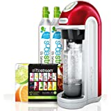 Sodastream Fizz Soda Machine - With (2) X 60-liter Co2 Carbonator Reusable Spare Cylinders - Mega Pack Bonus Bundle Kit Also Includes 12-flavor Taste Samplers and One 1liter Reusable Carbonating Bottle - RED