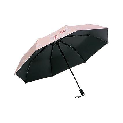 Paraguas Lindo de la protección del Sol Ultravioleta de la protección plástico Negro Plegable QIQIDEDIAN (