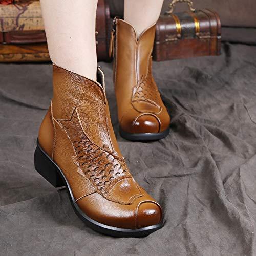 ZHRUI ZHRUI ZHRUI Fatti Vintage Zipper Stivali Mano in Block Pelle EU Dimensione Comfort a Donna Grigio Shoes 41 Giallo Colore RgxRrHn5qw