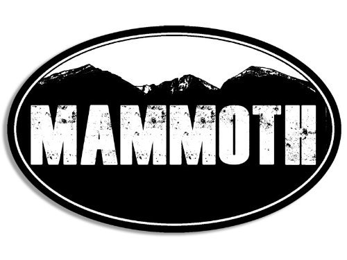 Vinyl USA Black Oval Mammoth Mountain BG Sticker (Snow ski Resort)