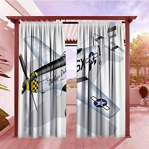 Outdoor Patio Curtains Vintage Airplane P 51 Dallas Doll Detailed Illustration American Air Force Classic Plane Waterproof Patio Door Panel W84x108L Multicolor
